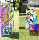 Public Art adds pop of color to benches and utility boxes at NoMi's Griffing Park